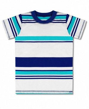 Футболка для мальчика в полоску Цвет: полоска+синий