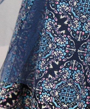 Синяя юбка с сеткой для девочки Цвет: синий