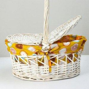 Корзина плетеная, 42х31х20/39, лоза, ткань