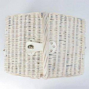 Корзина плетеная, 40х30х23х18/38, лоза, ткань