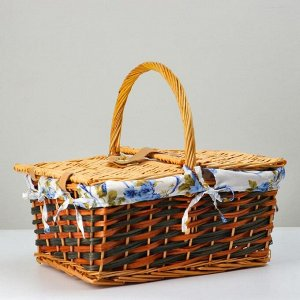 Корзина плетеная, 43х32х21/37, лоза, ткань
