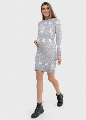 """Платье """"Джингл"""" для беременных и кормящих; серый"""