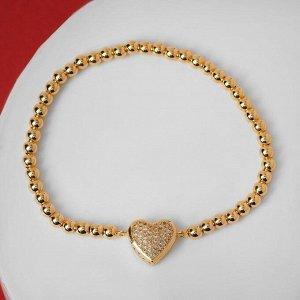 """Браслет со стразами """"Стиль"""" сердечко объёмное, цвет белый в золоте, d=8 см"""