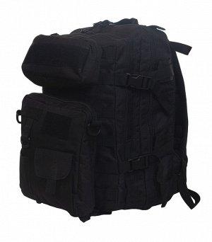 Тактический рюкзак с подсумками (30 литров, черный) (CH-068) - Благодаря съемным подсумкам рюкзак легко трансформируется под удобную конфигурацию. Два подсумка съемные и оснащены креплениями M.O.L.L.E