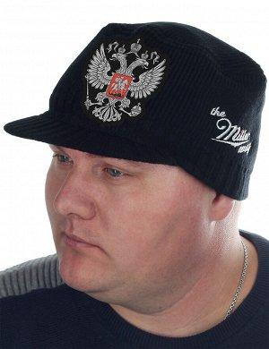 Шапка-кепка с изображением двуглавого орла – символа власти. Осенне-зимний вариант для мужчин от бренда Miller Way. Сочетается со всем – куртка, дубленка, плащ, пальто, тренч