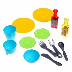 Игровой модуль «Кухонька» с набором посуды, бежит вода из крана