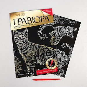 Гравюра «Бенгальская кошка» с металлическим эффектом «золото» А4