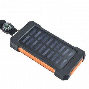 Портативный повер-банк (10000 mAh) с солнечной батареей и компасом + фонарем - Отличный вариант для зарядки мобильных девайсов как дома, так и в походах. Быстрая зарядка и большая емкость батареи! Про