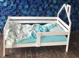 Кровать Софа с домиком у изголовья 160*80 белая