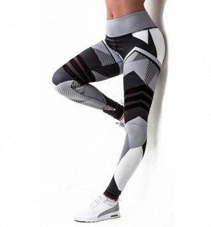 Леггинсы женские спортивные, геометрический принт