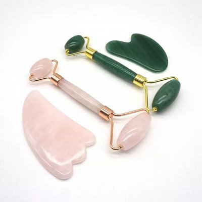 Всё что нужно каждый день! Ролики, пластины для массажа — Розовый кварц и нефрит для массажа. — Ручные массажеры