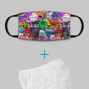 Детская маска (+5 фильтров) «BRAWL STARS»