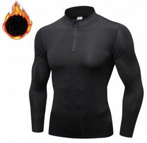 Мужская спортивная кофта, с замком, черная