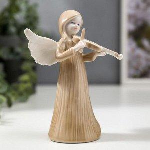 """Сувенир керамика """"Ангел-девочка в длинном платье, со скрипкой"""" 14,7х6,3х8,7 см"""