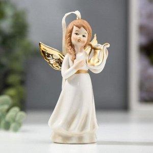 """Сувенир керамика """"Ангел-девочка с золотыми крыльями, с лирой в руке"""" 11,4х4,6х5,4 см"""