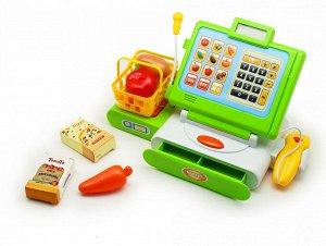 Касса Работает от батареек, батарейки в комплект не входят! В комплекте: касса, корзинка, набор продуктов (как на фото), 2 коробочки, игровые деньги. Возраст 3+.