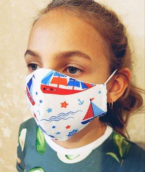 Маска Двухслойные тканевые маски, состав: 100% хлопок. Ситец, бязь Размер 19*10 см- детская, Размер: 22 х 12 см-взрослая Плотность прилегания маски на свое лицо можно отрегулировать самому резиночками