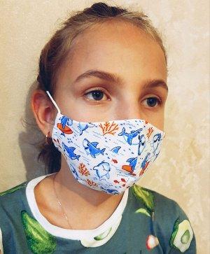 Маска Двухслойные тканевые маски, состав: 100% хлопок. Ситец,бязь.  Размер 19*10 см- детская, Размер: 22 х 12 см-взрослая Плотность прилегания маски на свое лицо можно отрегулировать самому резиночкам