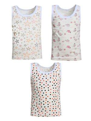 Набор маек Количество в упаковке: 1; Артикул: МАТ-М-04; Цвет: Белый; Ткань: Кулирка; Состав: 100% Хлопок; Цвет: Разноцветный В наборе 3маечки. Цвета могут отличаться от фото.