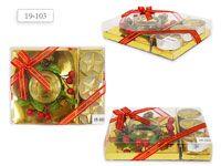 Свечи подарочный набор/ 3 свечи и подсвечник, 12*14 см
