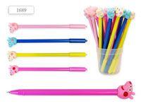Ручка шариковая с игрушкой-насадкой СВИНКА, цв.чернил - синий, в стакане. Производство Россия.