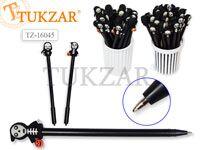 Ручка шариковая с игрушкой-насадкой СКЕЛЕТИКИ , цв.чернил - синий 0,7мм,  цвета корпуса в ассортименте, в стакане-подстав. Производство Россия.