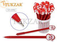 Ручка шариковая с игрушкой-насадкой САНТА КЛАУС , цв.чернил - синий 0,7мм,  цвета корпуса в ассортименте, в стакане-подстав. Производство Россия.
