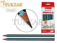 Чернографитный карандаш HB, шестигранный, полосатый голубой, заточенный, без ластика. . Производство Россия.