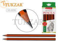 Чернографитный карандаш HB, шестигранный, полосатый оранжевый, заточенный, без ластика. . Производство Россия.