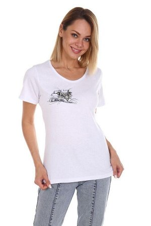 Футболка женская, с вышивкой, модель 165, трикотаж (Наблюдатель, белый)