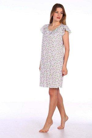 Сорочка ночная женская,мод. 426,трикотаж (Божьи коровки, зеленый)