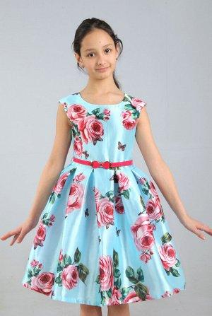 Платье Количество в упаковке: 1; Артикул: СС-П-1808; Цвет: Голубой Скачать таблицу размеров                                                 Нарядное платье с принтом в стиле «дольче габбана» выполнен