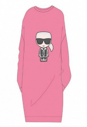 Платье Платье, махровый хлопок. 09B - BLACK 45A - ROSE TENDRE