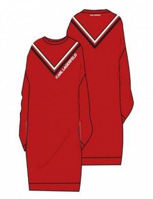 Платье Платье с длинными рукавами, хлопок, принт с логотипом. 963 - DEEP RED