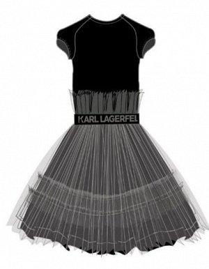 Платье Платье, верх из легкой вискозы, полиамидного эластана, юбка из полиэфирной сетки, подклад легкая вискоза ,жаккардовая резинка с логотипом на талии. 09B - BLACK