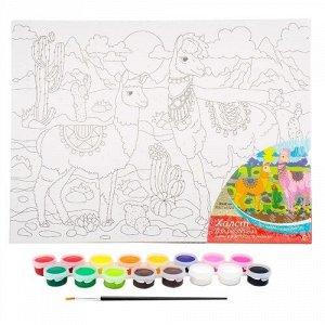"Холст с красками по номерам ""Перуанская лама"" 20*25 см"