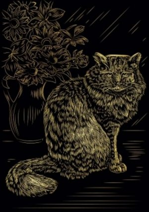 """Гравюра с эффектом золота """"Пушистый котик"""" А4, в конверте"""