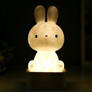 """Ночник """"Зайчонок"""" LED от батареек 4хАА USB RGB белый 9х9х19.5 см"""