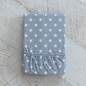 Простынь на резинке на матрац 90х200 серый  мелкие звездочки
