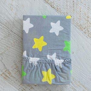 Простынь на резинке на матрац 90х200 зеленые звезды