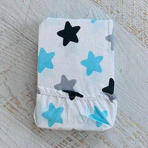 Простынь на резинке на матрац 90х200 белая звезды