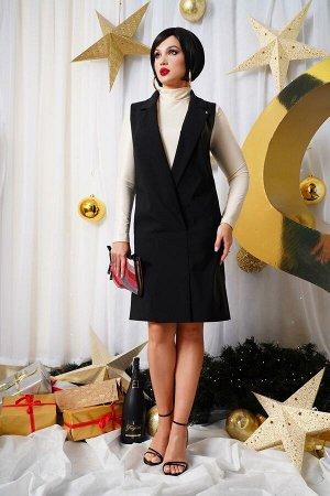 Сарафан Рост: 164 см. Состав ткани: 60% п/э 38% вискоза 2% спандекс; подкладка: 100% п/э Сарафан женский из костюмно-плательной ткани, полуприлегающего силуэта, на подкладке. Воротник пиджачного типа.