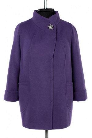 01-10246 Пальто женское демисезонное Пальтовая ткань фиолетовый