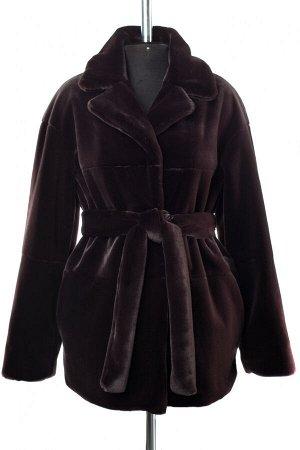 01-10244 Пальто женское демисезонное (пояс) Искусственный мех темный шоколад