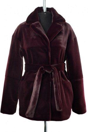 01-10243 Пальто женское демисезонное (пояс) Искусственный мех Слива
