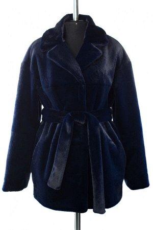 01-10242 Пальто женское демисезонное (пояс) Искусственный мех темно-синий