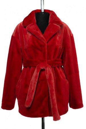 01-10240 Пальто женское демисезонное (пояс) Искусственный мех красный