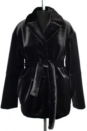 01-10239 Пальто женское демисезонное (пояс) Искусственный мех черный