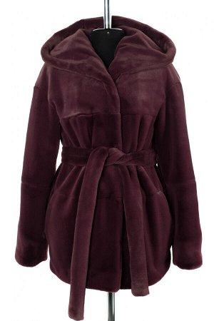 01-10233 Пальто женское демисезонное Искусственный мех темно-сиреневый