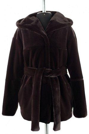 01-10232 Пальто женское демисезонное Искусственный мех темный шоколад
